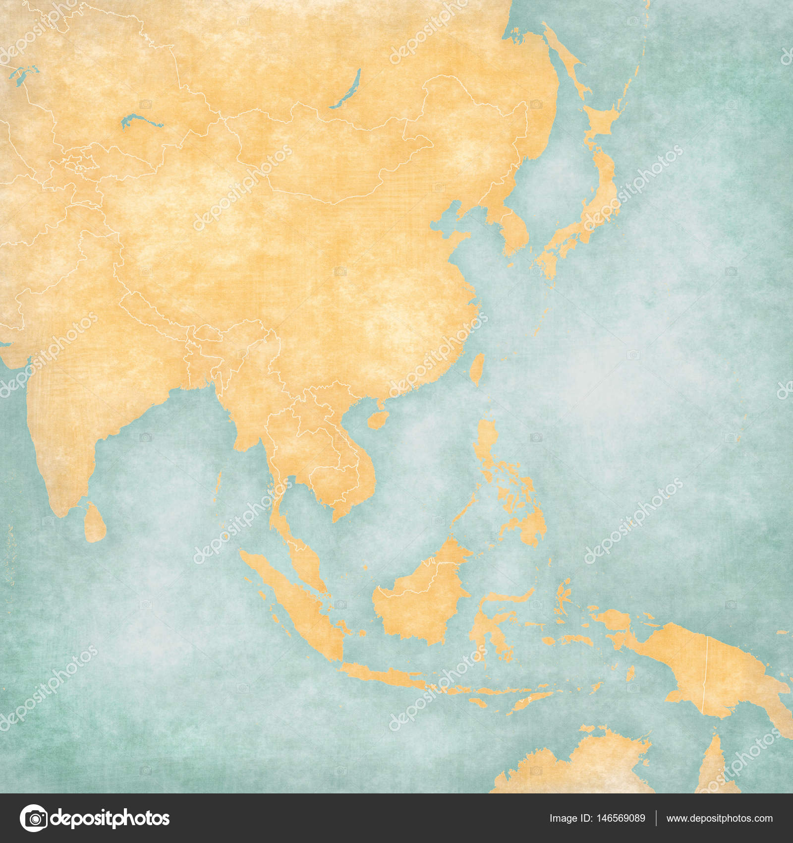 Blank Map Of East And Southeast Asia.Map Of East Asia Blank Map Stock Photo C Tindo 146569089