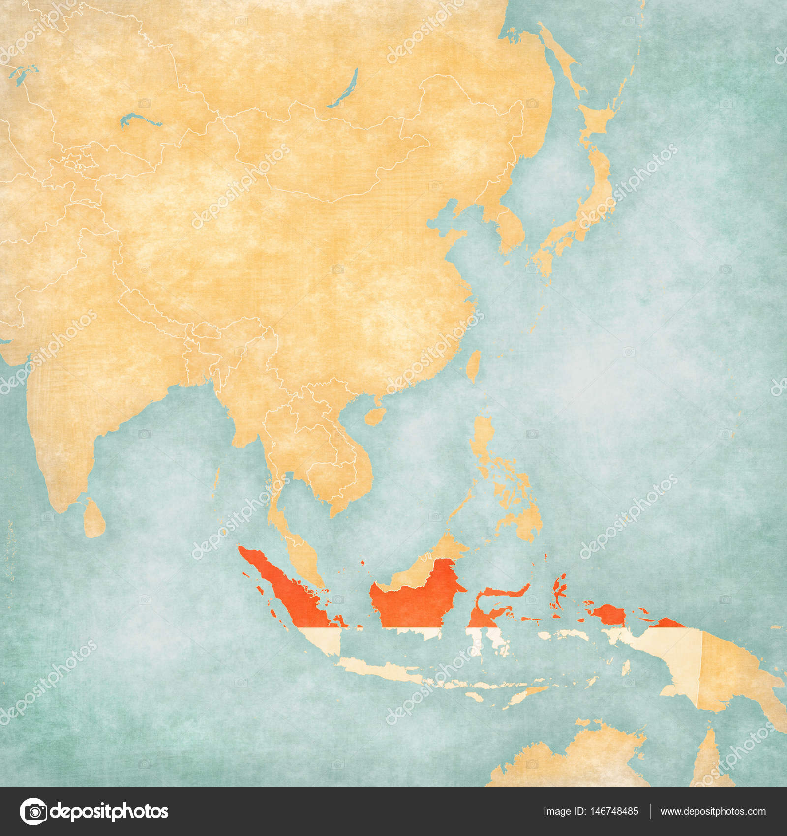 Map Of Asia Indonesia.Map Of East Asia Indonesia Stock Photo C Tindo 146748485