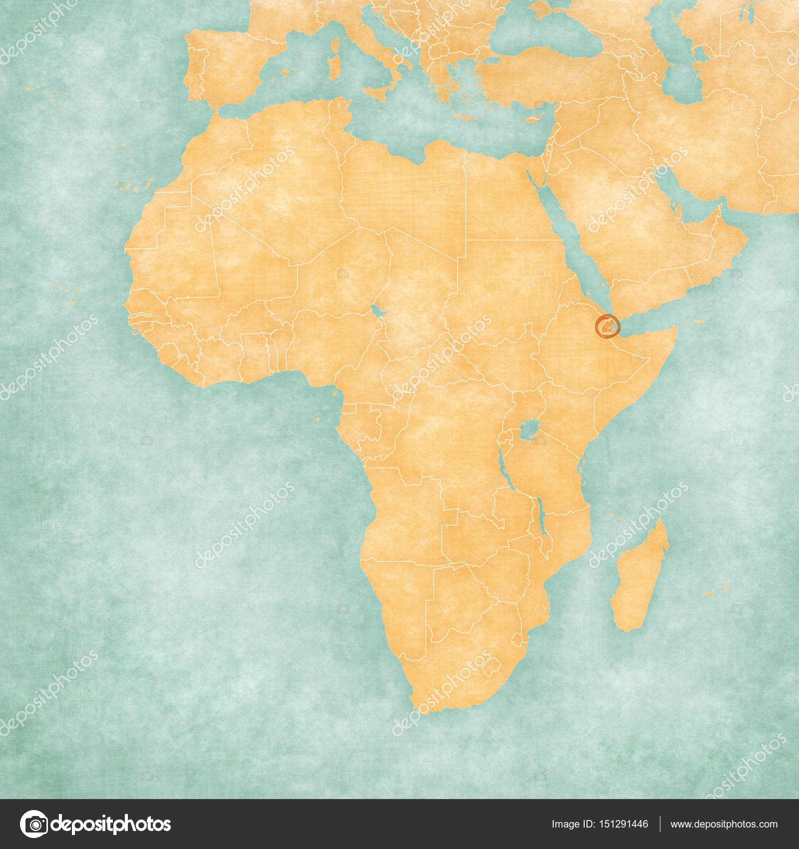Map of Africa - Djibouti — Stock Photo © Tindo #151291446