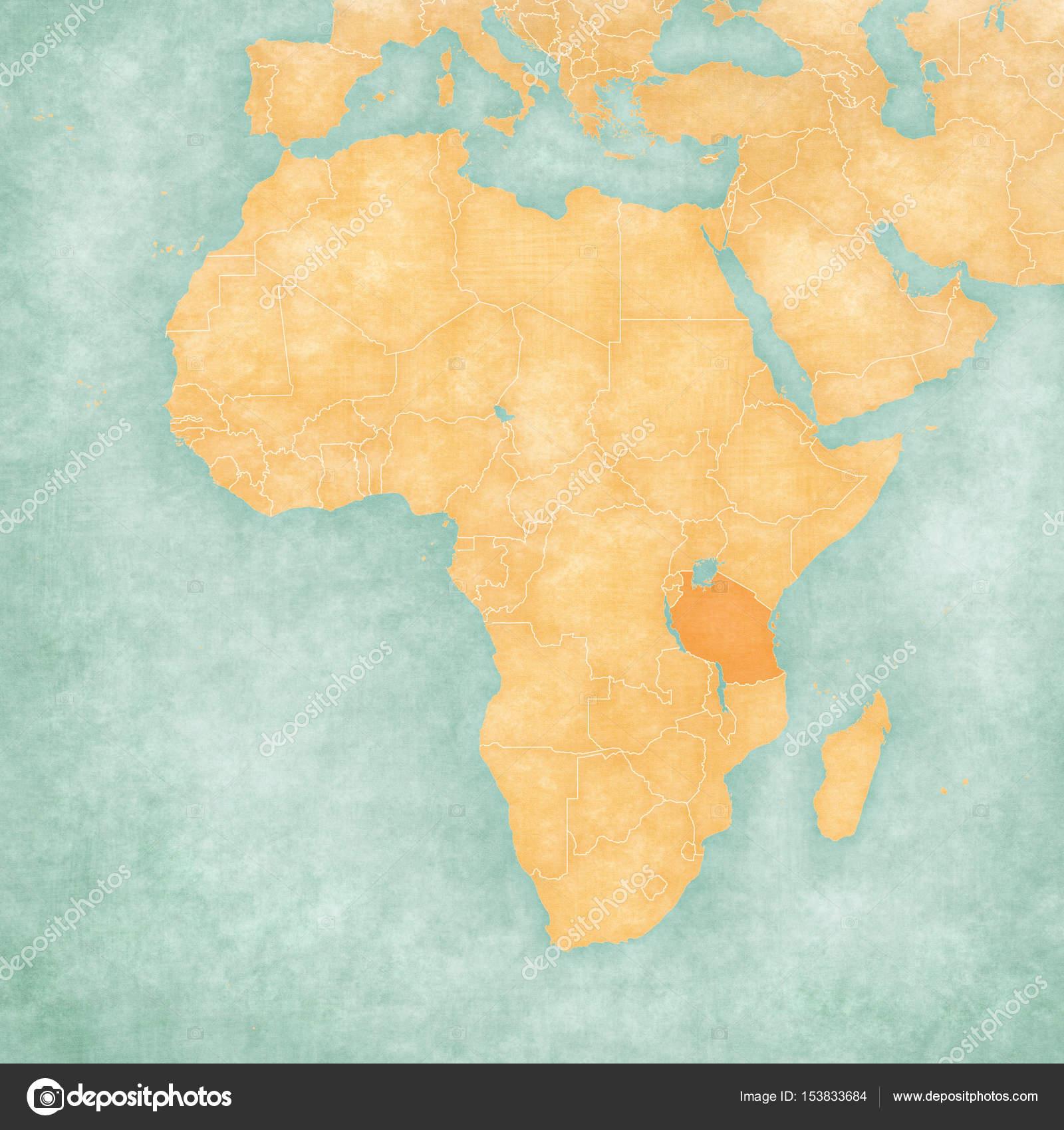 Tanzania On A Map Of Africa.Map Of Africa Tanzania Stock Photo C Tindo 153833684