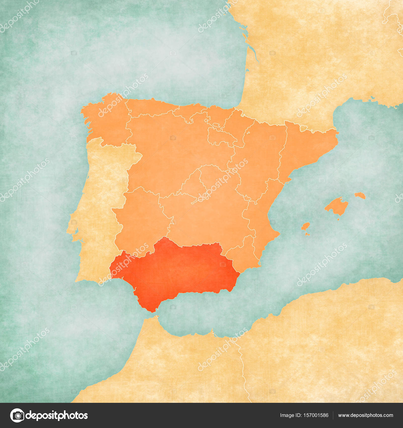 Map Of Iberian Peninsula Andalusia Stock Photo C Tindo 157001586
