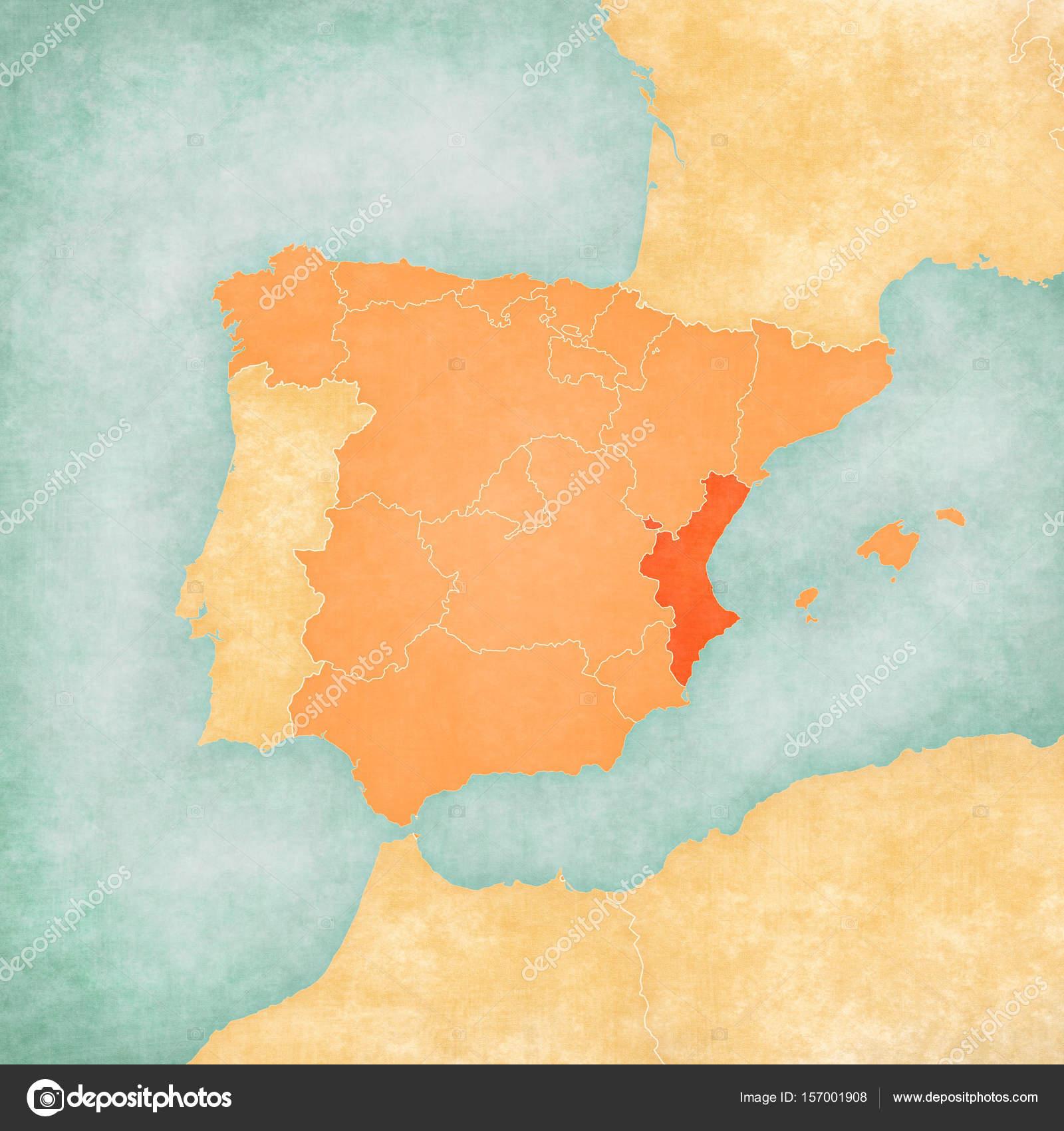 Map of Iberian Peninsula - Valencia — Stock Photo © Tindo #157001908
