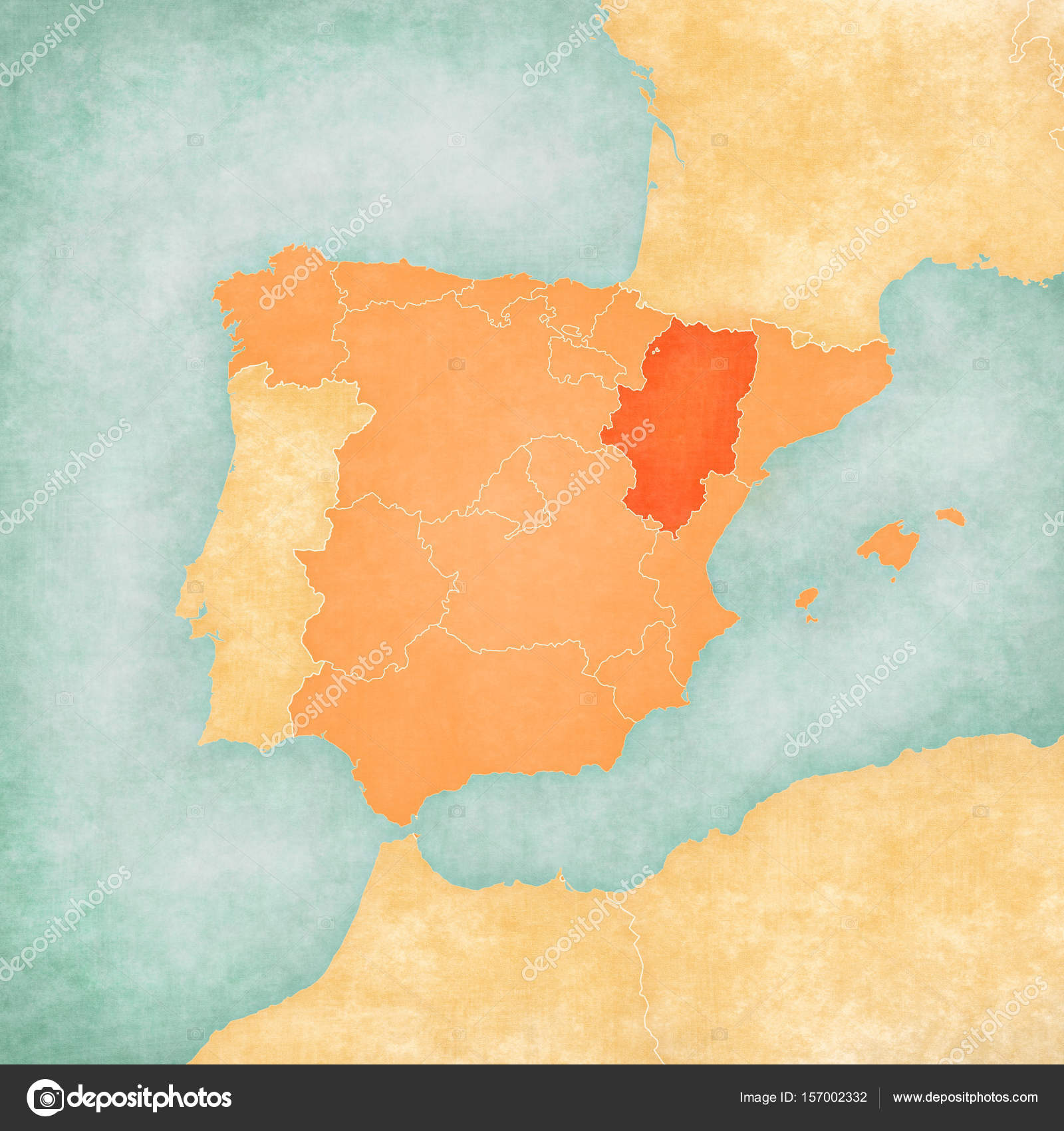 Map Of Iberian Peninsula Aragon Stock Photo C Tindo 157002332