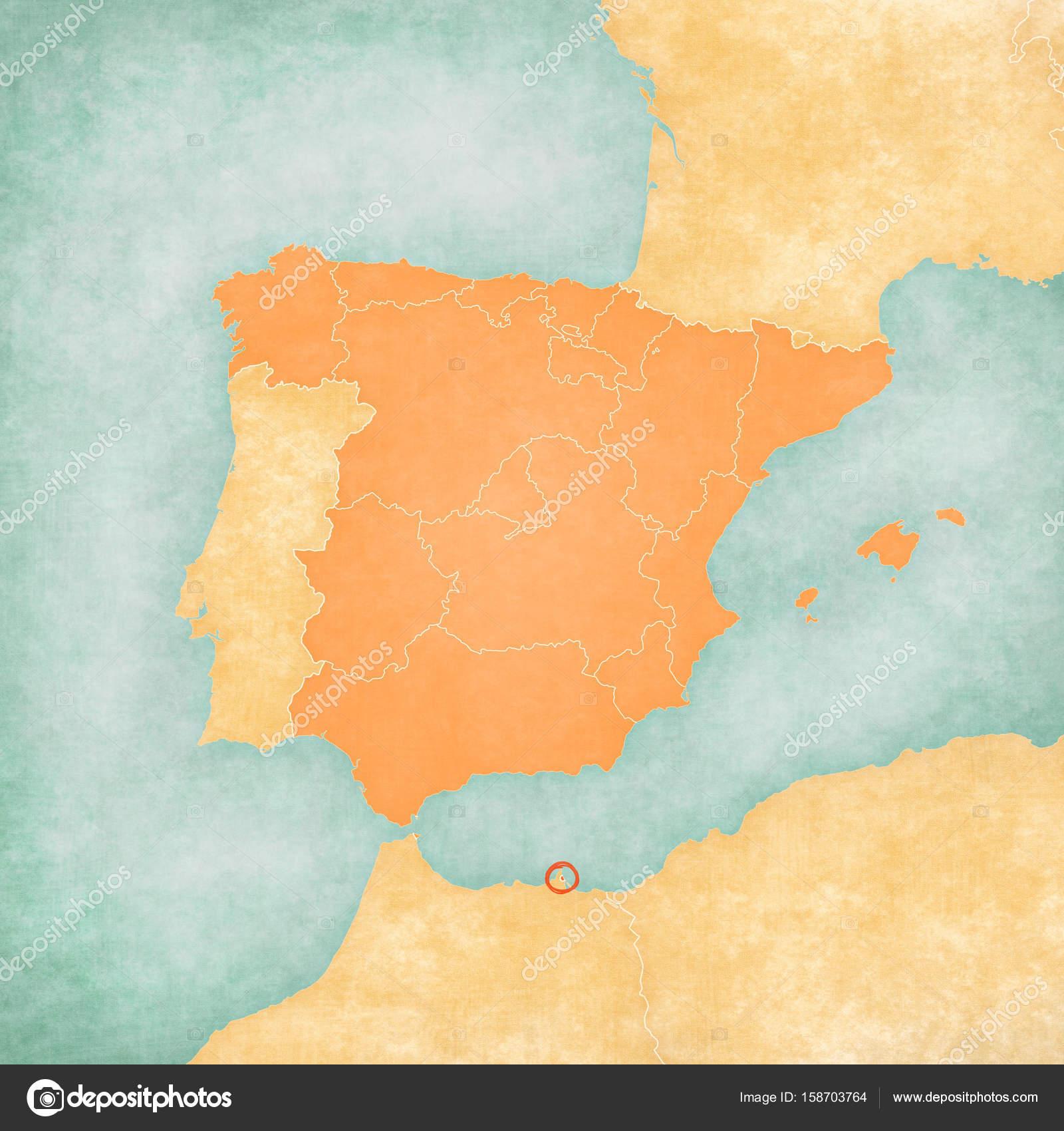 Melilla Spain Map.Map Of Iberian Peninsula Melilla Stock Photo C Tindo 158703764