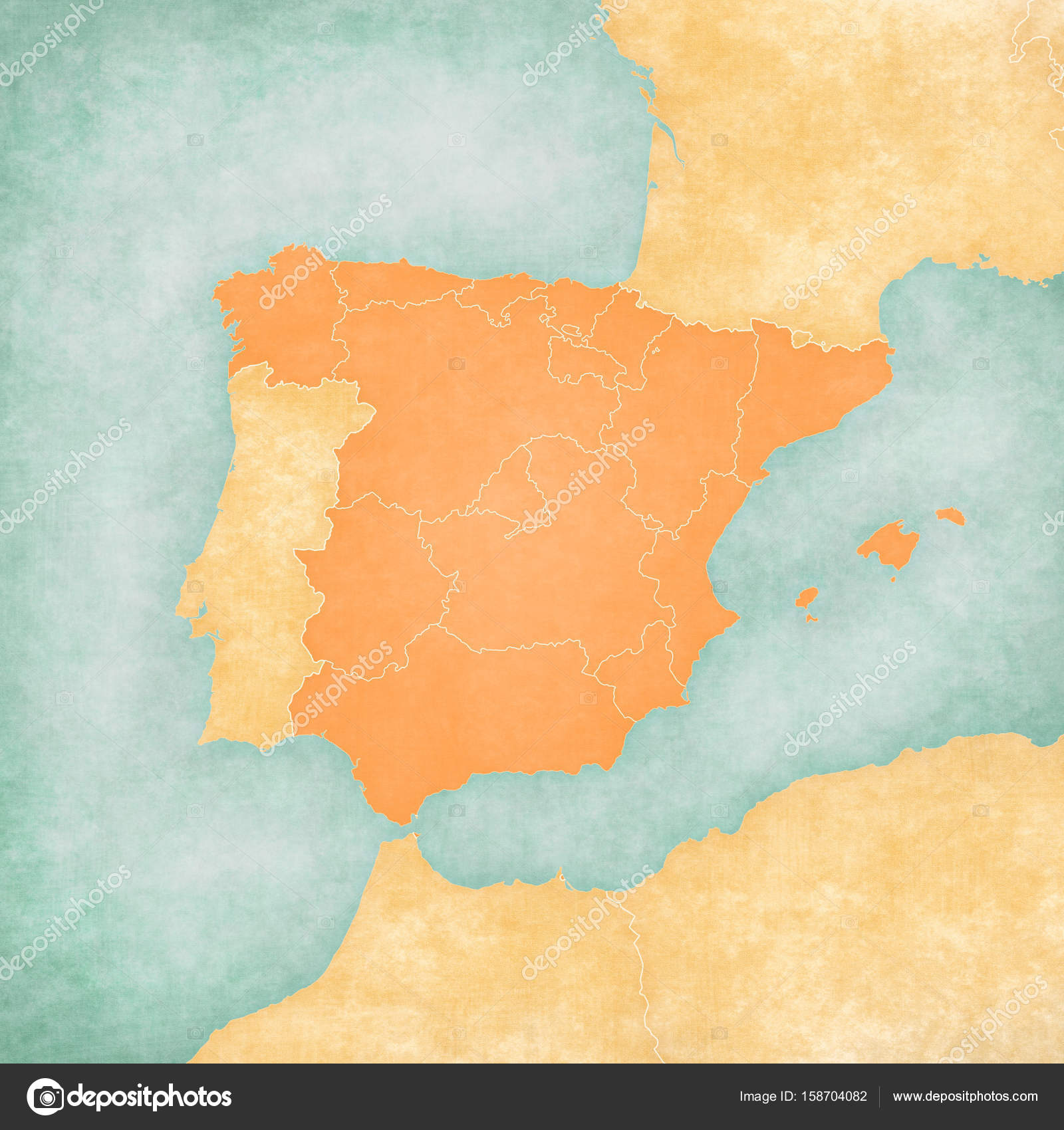 Map Of Iberian Peninsula Spain Blank Map Stock Photo C Tindo