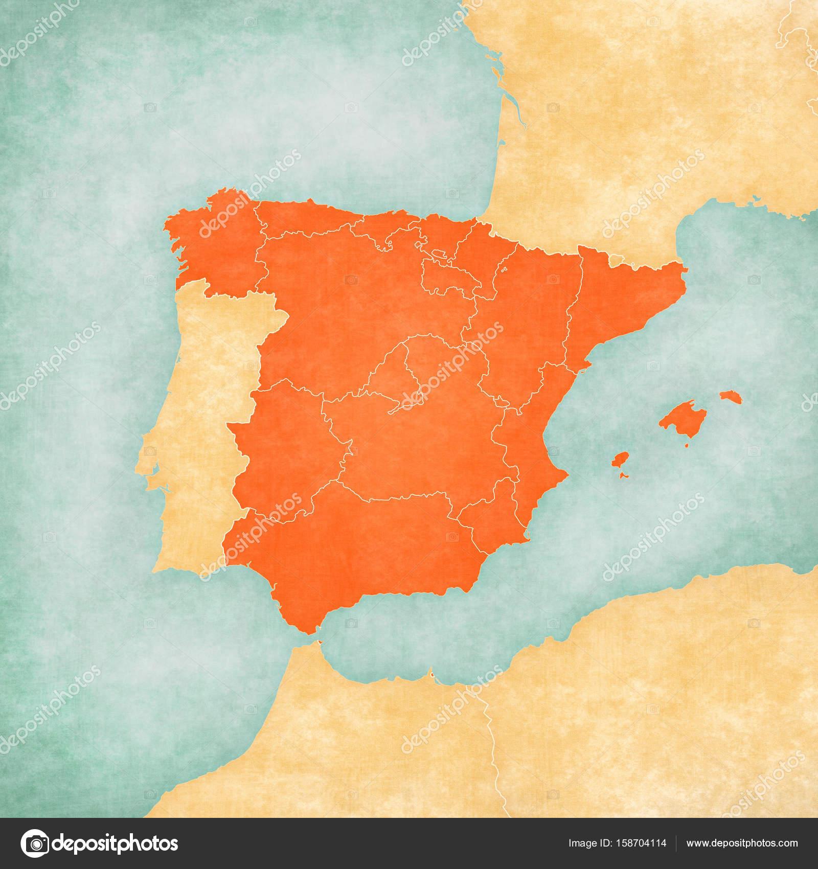 Map of Iberian Peninsula - Spain (Inner Borders) — Stockfoto © Tindo ...