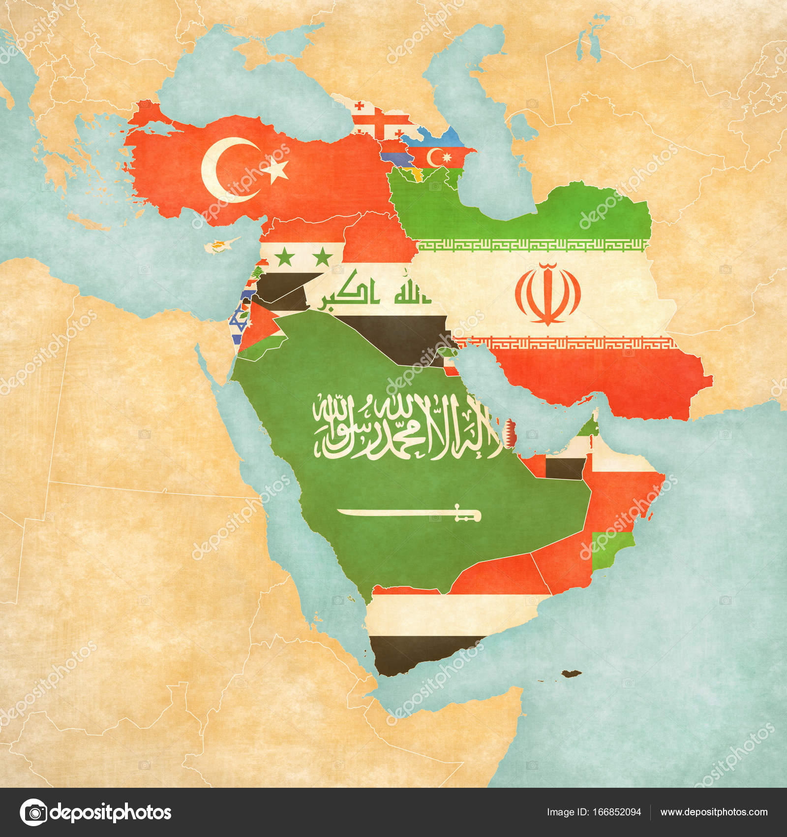 Picture: flags of west asia | Map of Western Asia - Flags of ...