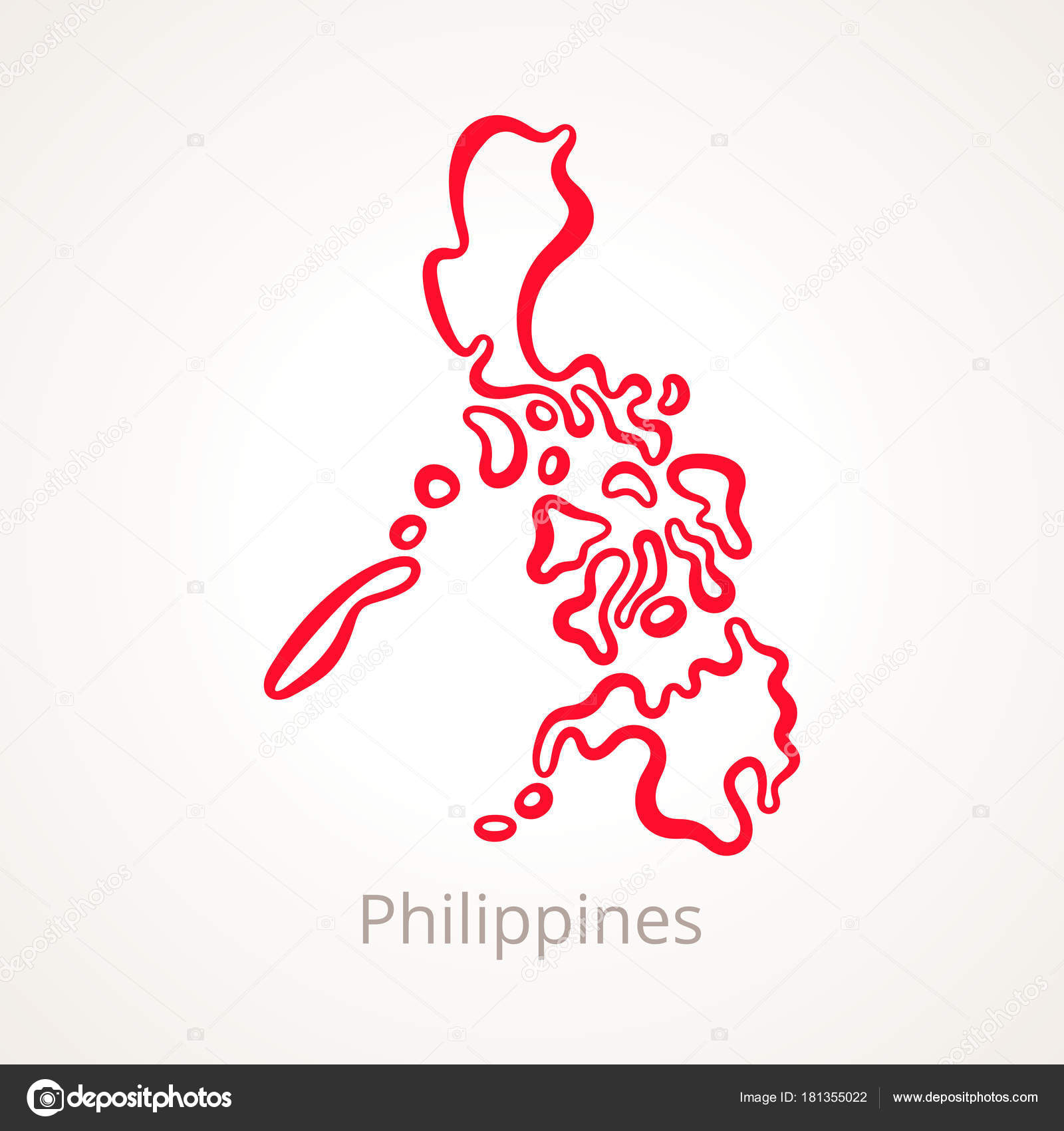 Outline Map Philippines Marked Red Line Stock Vector