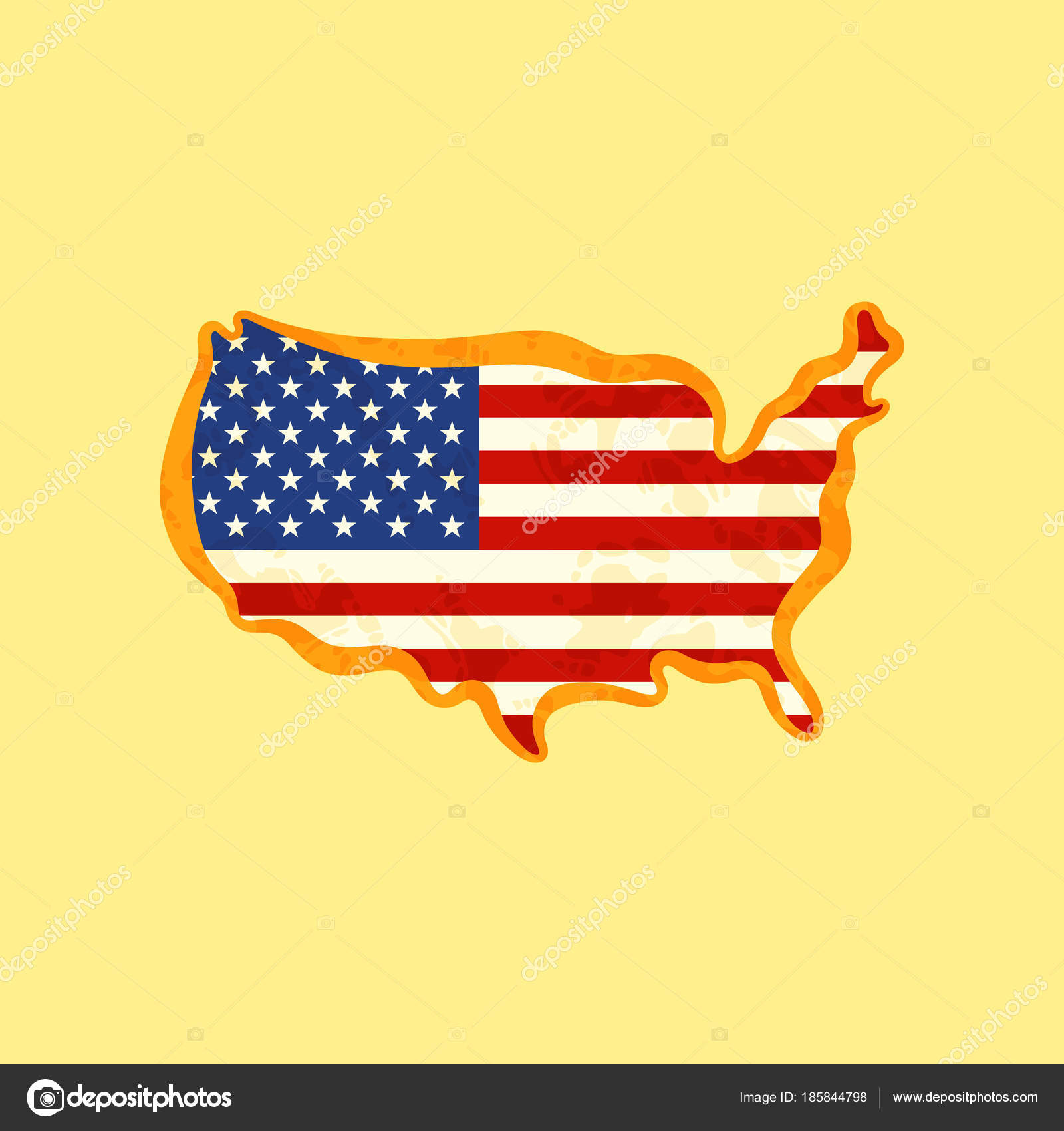 United States - Map colored with US flag — Stock Vector ...