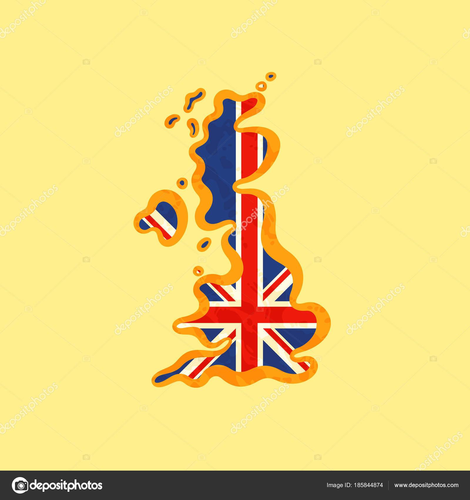 Reino Unido - Mapa coloreado con bandera británica — Vector de stock ...