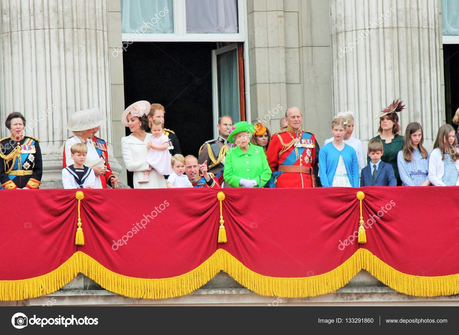 Queen Elizabeth & Royal Family trooping the color Westminster ...