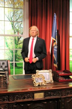 London, United Kingdom - March 20, 2017: Donald Trump wax figure at Madame Tussauds London