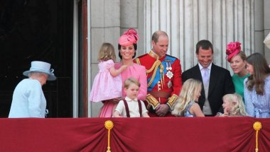 Queen Elizabeth & Royal Family, Buckingham Palace, London June 2017- Prince William, George, Kate and Princess Charlotte during Trooping the Colour - Balcony for Queen Elizabeth's Birthday June 17, 2017 London, UK stock, photo, photograph, image, pic