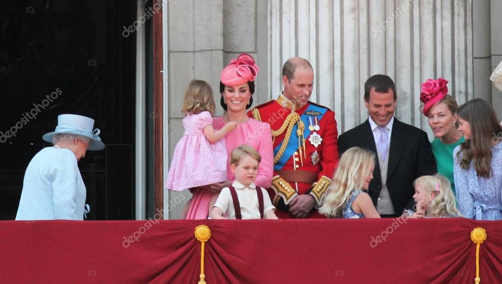 Queen Elizabeth & Royal Family, Buckingham Palace, London June 2017- Prince William, George, Kate and Princess Charlotte during Trooping the Colour - Balcony for Queen Elizabeth's Birthday June 17, 2017 London, UK