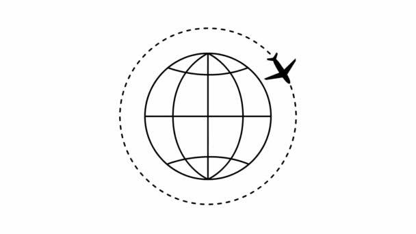 letadlo letí po trajektorii. Planeta Země s letadlem kolem. Plochá ilustrace na bílém pozadí. Cestování letadlem.