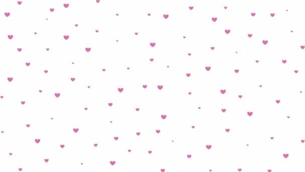 rózsaszín szívek repülnek tetőtől talpig. eső a szív elszigetelt fehér háttér
