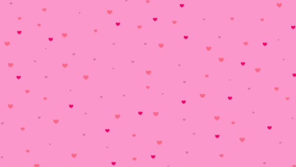 pink hearts fly from top to bottom. rain of hearts are on pink background