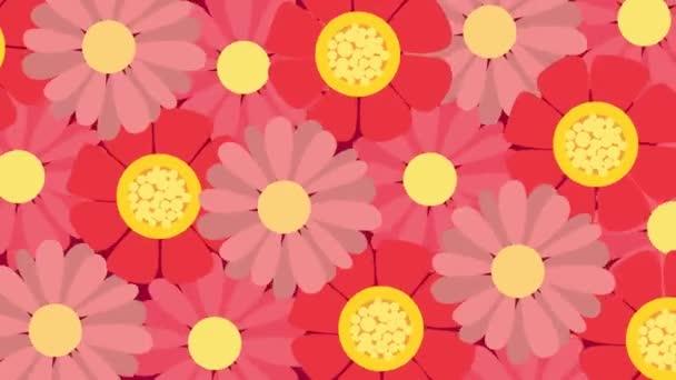 Animované točící se červené a růžové květy. Květiny se otáčí kolem své osy.