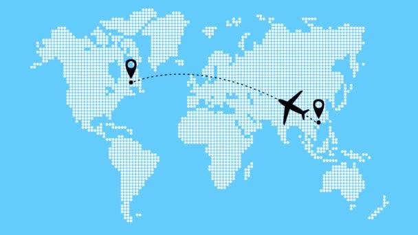 letadlo letí po trajektorii z Asie do Ameriky. Cestování letadlem. Letadlo letí zprava doleva. Mapa světa od bodu vzor na modrém pozadí.