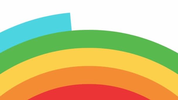 Animált szivárvány jelenik meg balról jobbra a fehér háttér. Fényes vektor illusztráció.