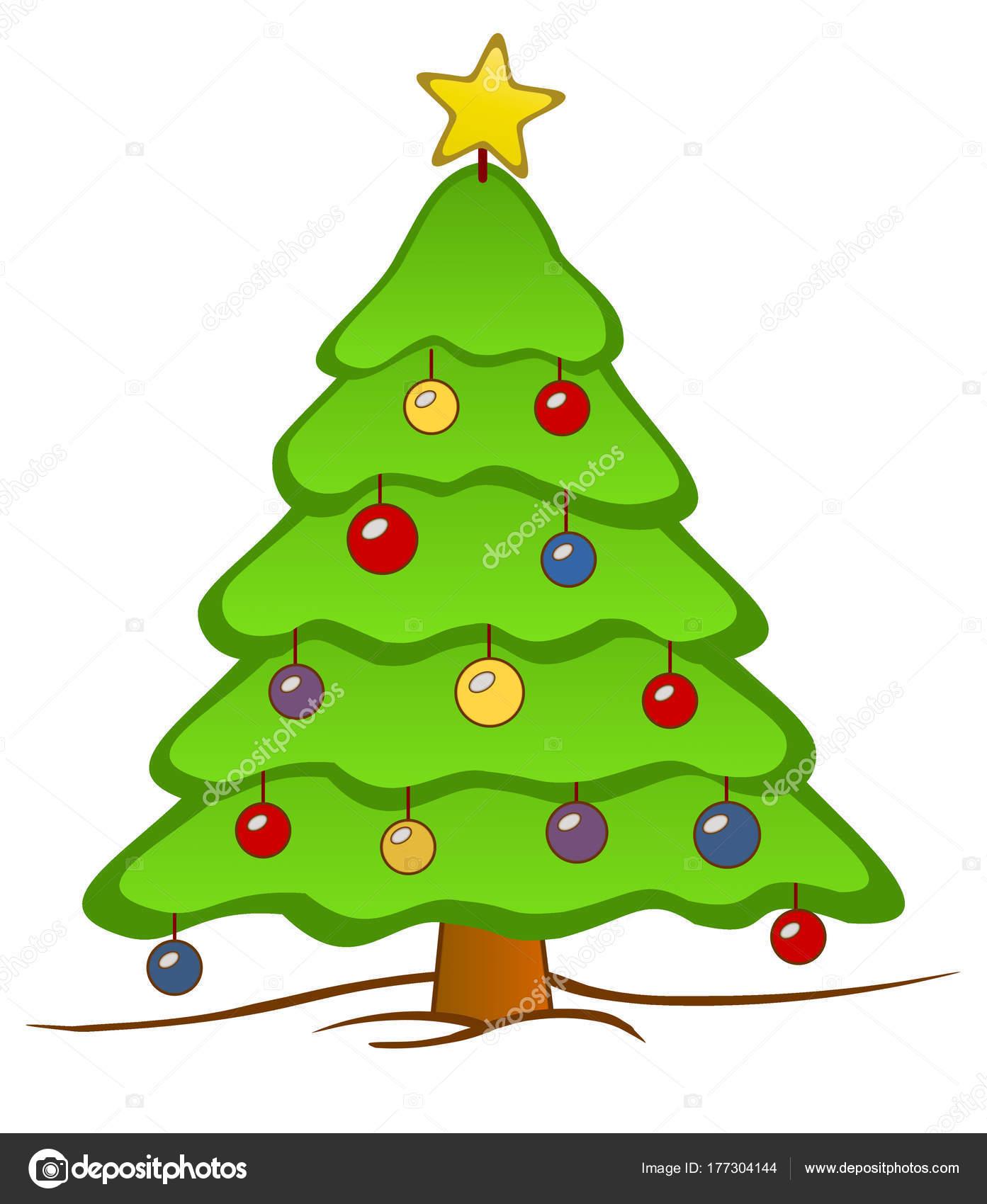 Uma Árvore Natal Isolado Com Uma Estrela Cima Coloridas