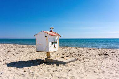 Small white church in a beach near Thessaloniki, Greece