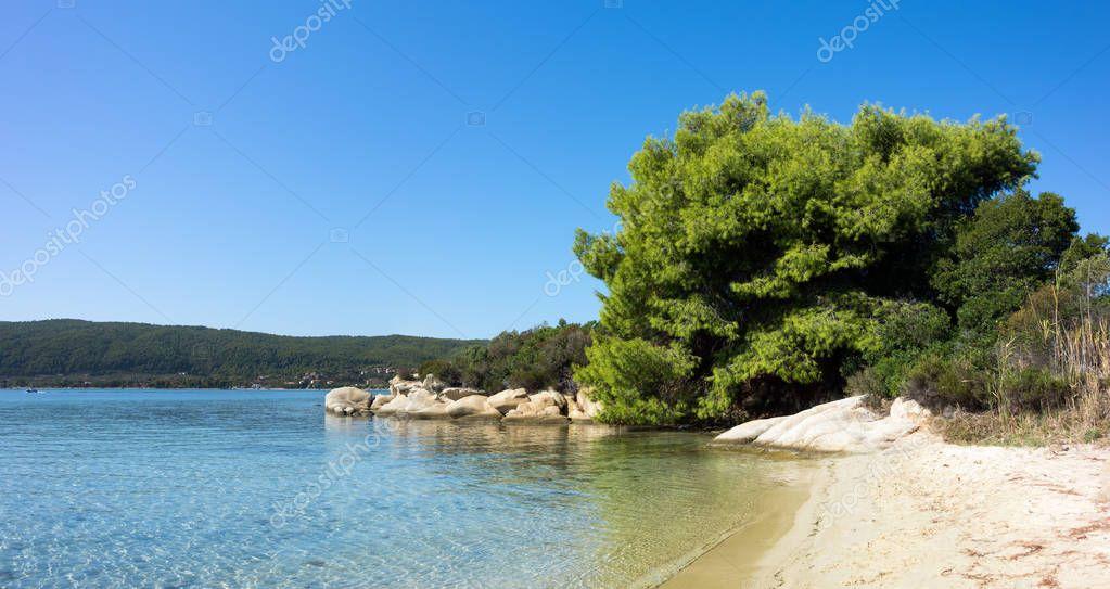 Amazing scenery by the sea in Diaporos island, Sithonia, Chalkidiki, Greece