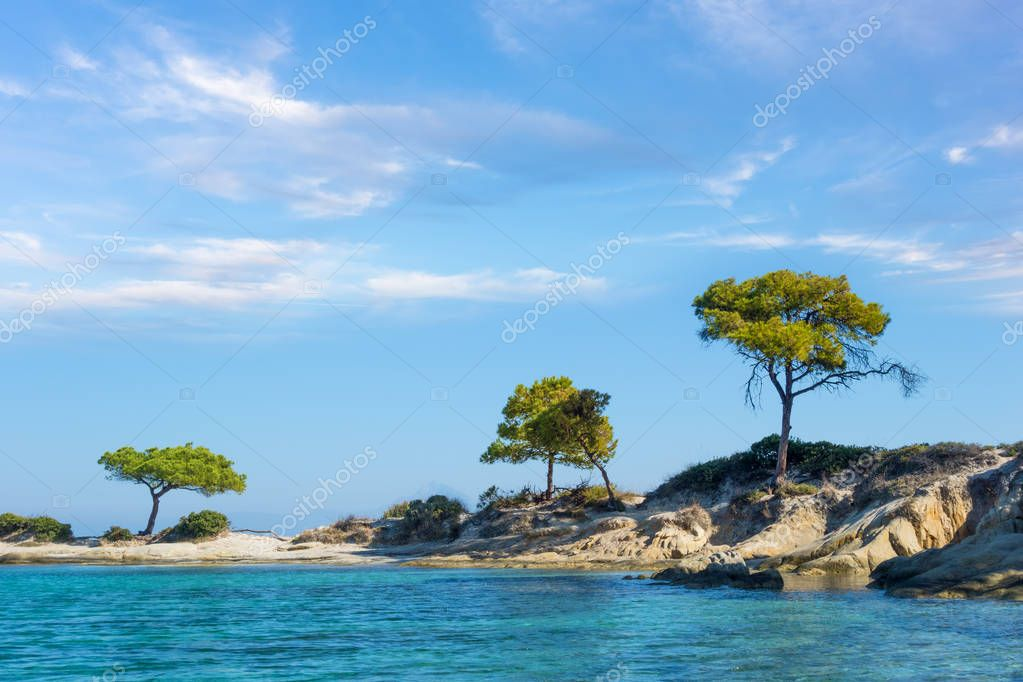 Amazing scenery by the sea in Vourvourou, Sithonia, Chalkidiki, Greece