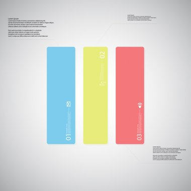 Rectangle illustration template consists of three color parts on light background
