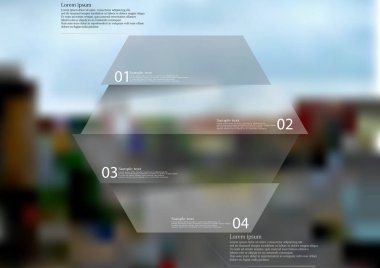 Illustration infographic template with hexagon horizontally divided to four parts