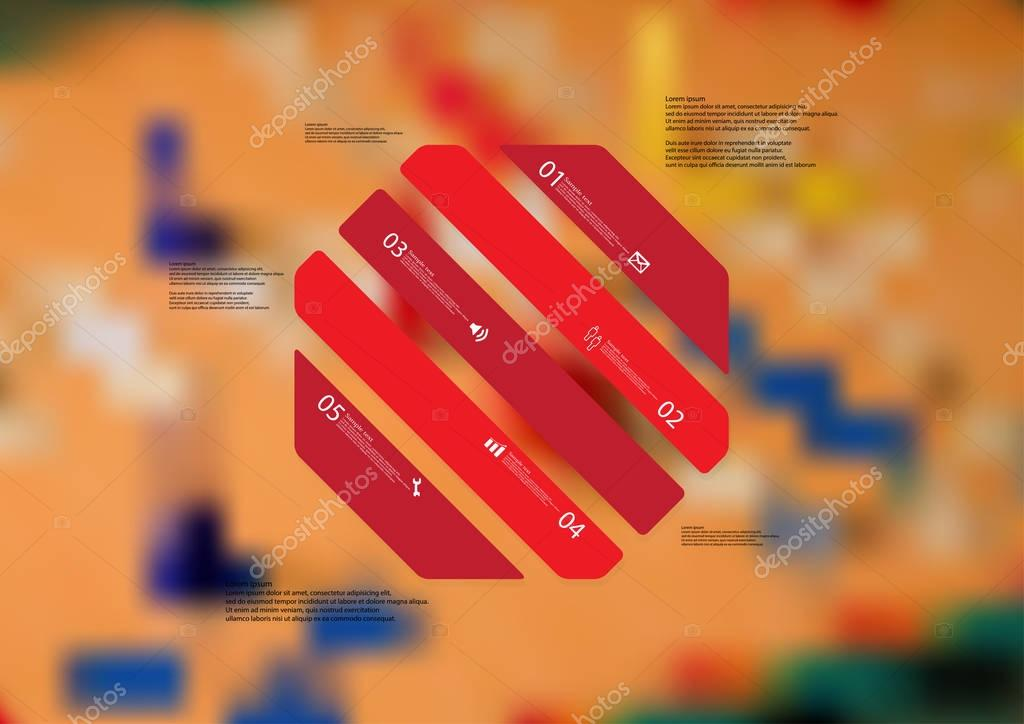 Illustration infographic template with octagon askew divided to five red parts