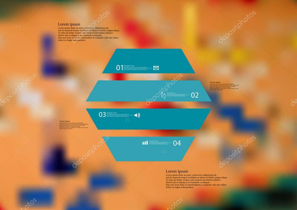 Illustration infographic template with hexagon horizontally divided to four green parts