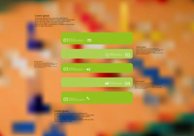 Illustration infographic template with rectangle horizontally divided to five standalone green parts