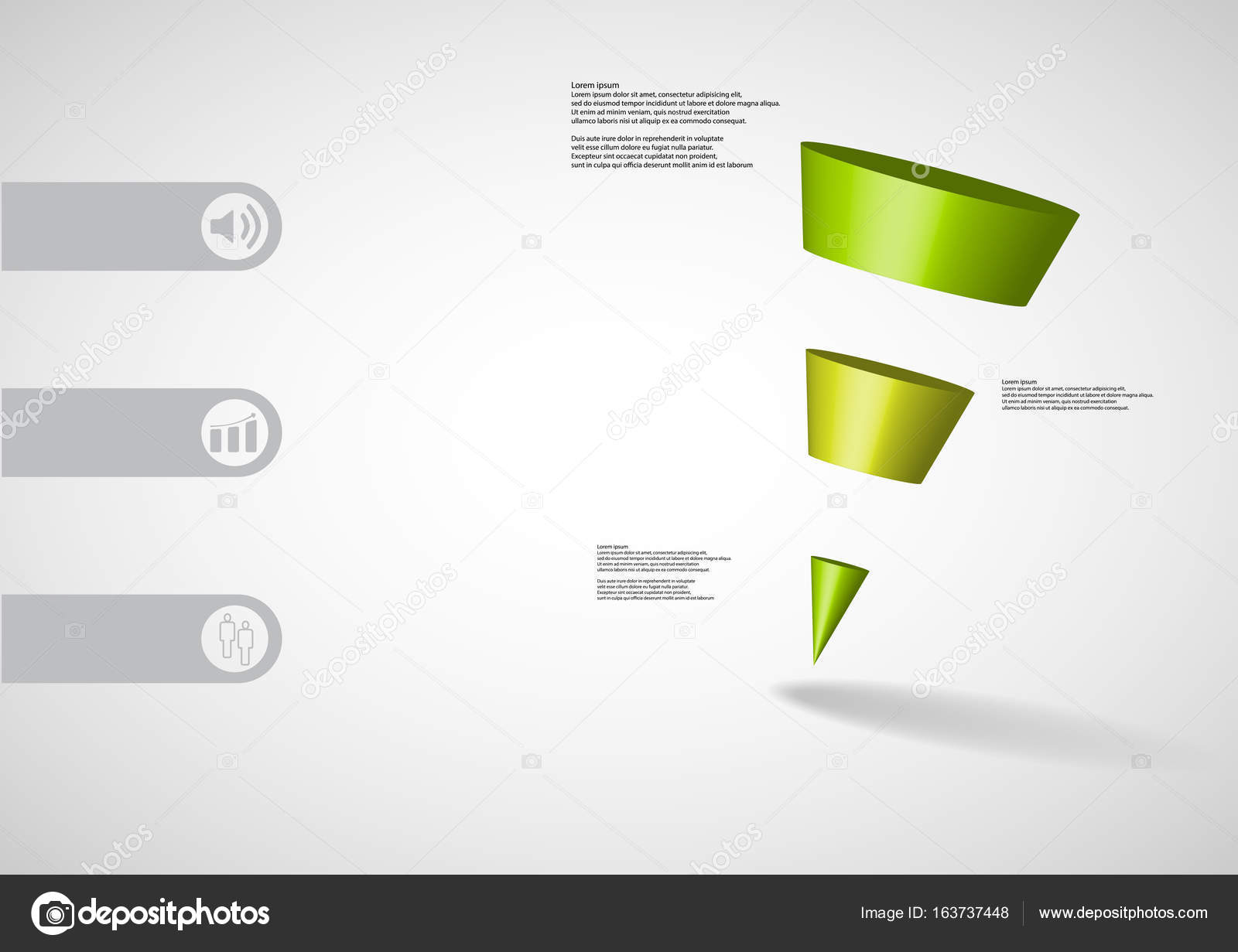 3d illustration infographic template with sloping triangle