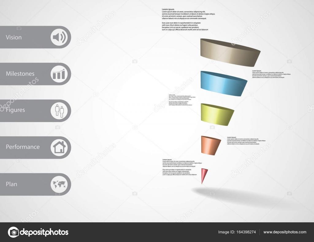 Hochwertig 3D Illustration Infografik Vorlage Mit Motiv Des Abfallenden Kegel Dreieck  Horizontal Geteilt, Fünf Farbe Scheiben Mit Einfachen Zeichen Und Text Auf  Seite ...