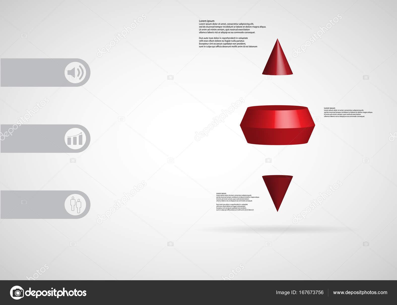 3D plantilla ilustración infografía cono espiga dos horizontalmente ...