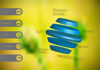 3D illustration infographic template with rotated hexagon divided to five parts askew arranged