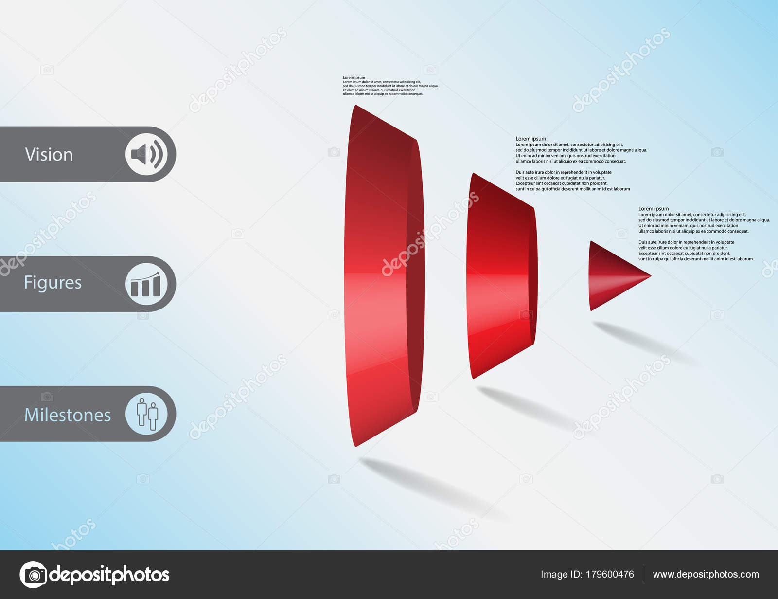 3d illustration infographic template with triangle cone vertically