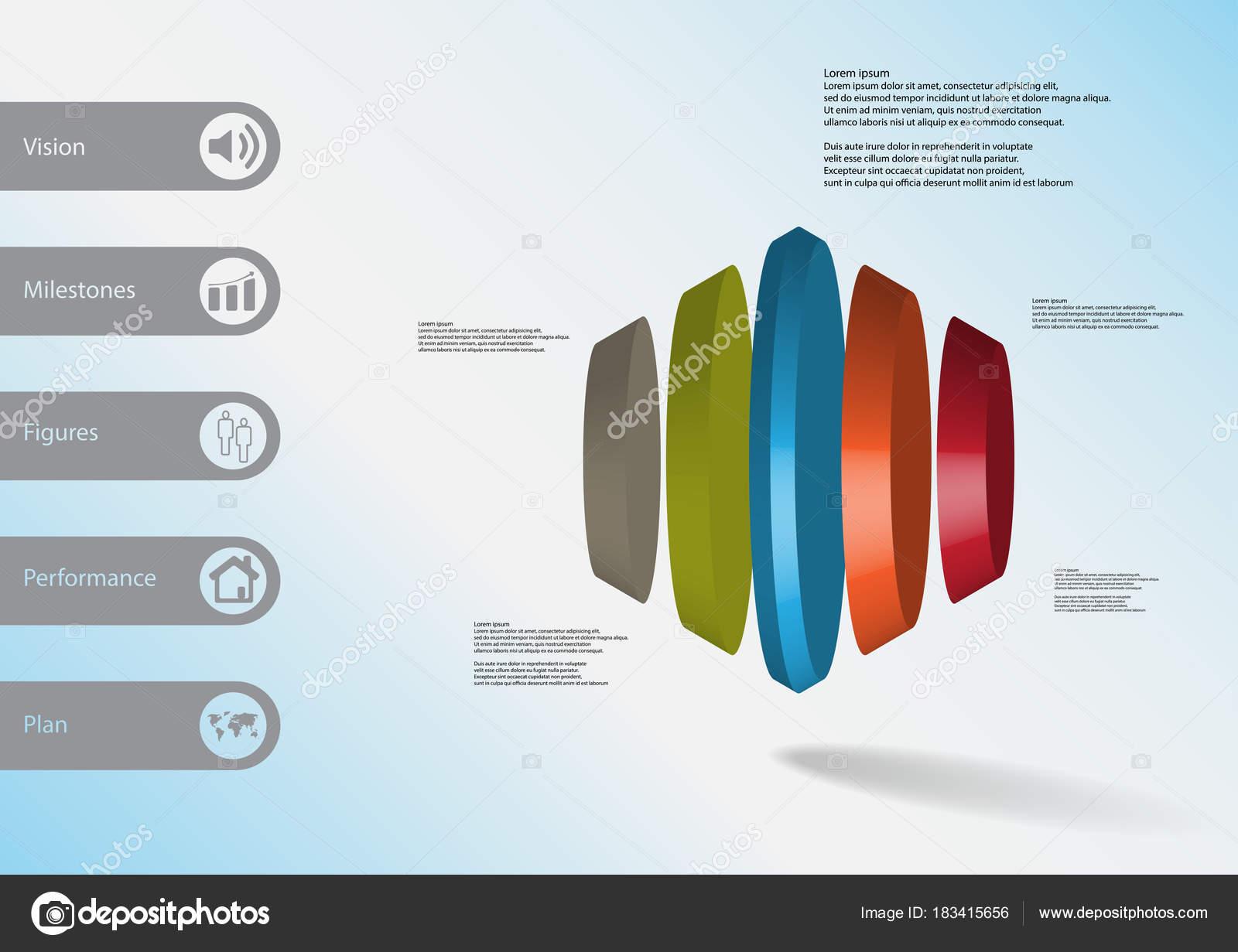 3D plantilla ilustración infografía hexagonal redonda verticalmente ...