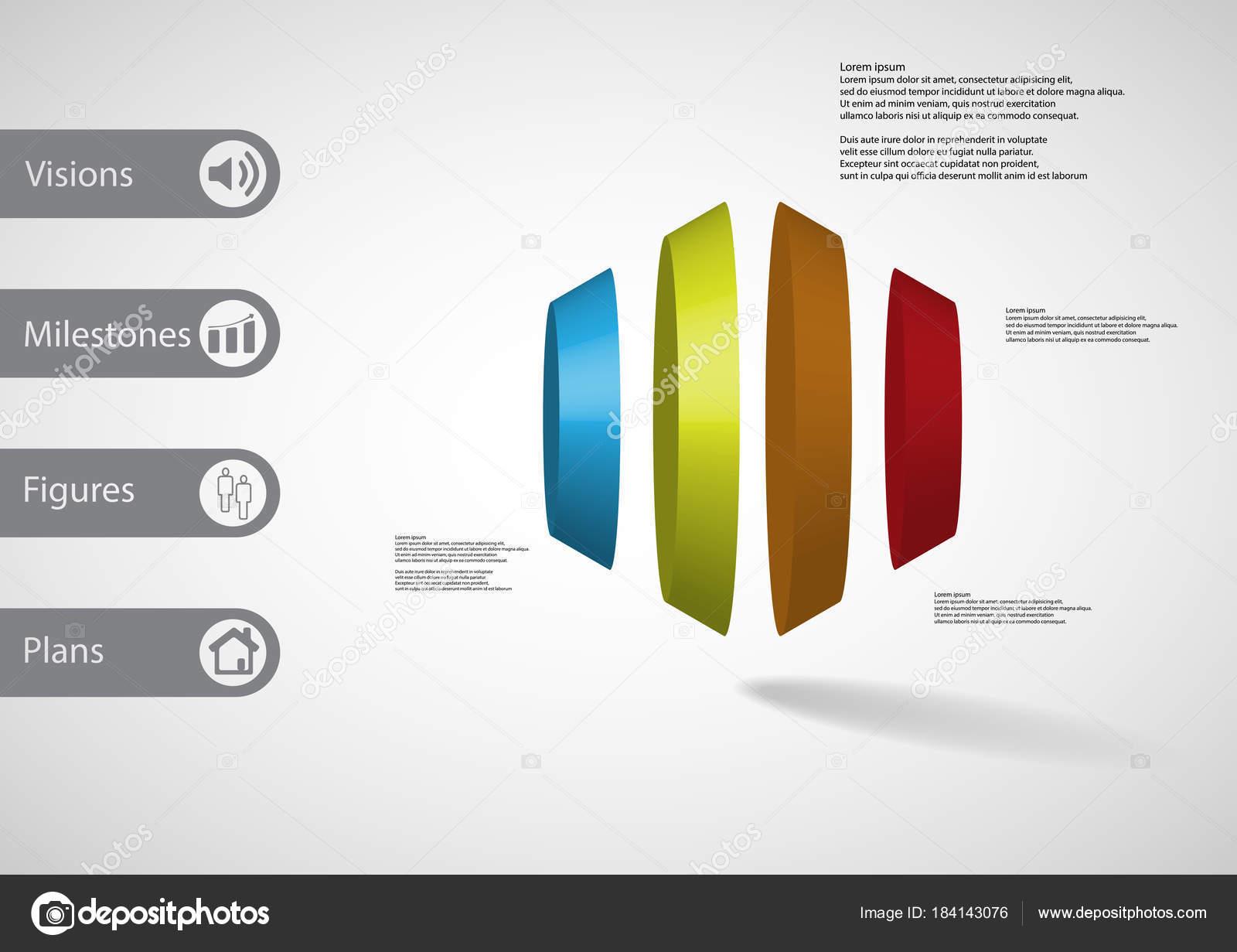 3D plantilla ilustración infografía hexagonal redonda dividida ...