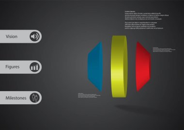 3D illustration infographic template with round octagon vertically divided to three parts