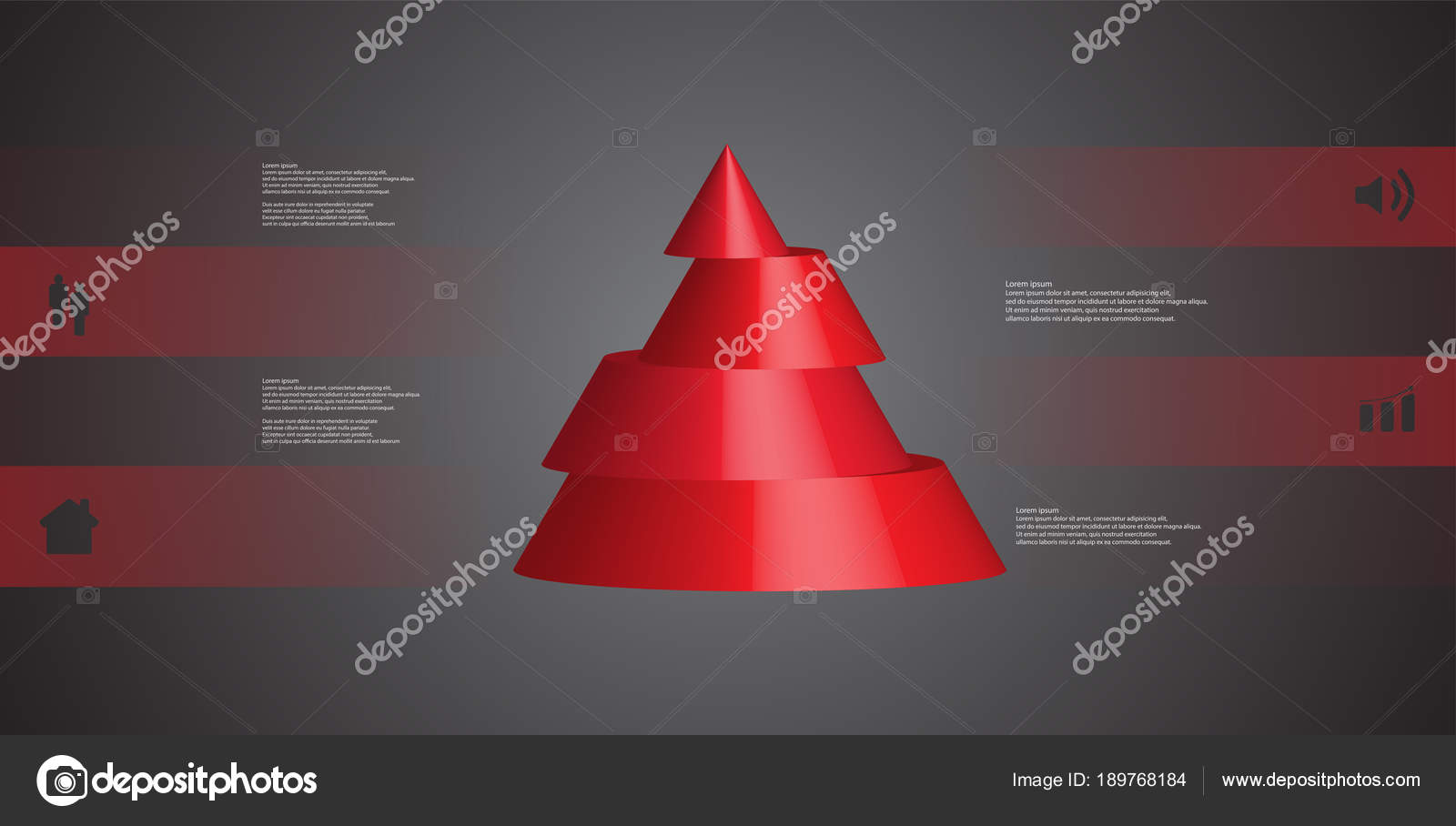 3D Illustration Infographic Template With Cone Horizontally Sliced To Four Shifted Parts Stock Vector