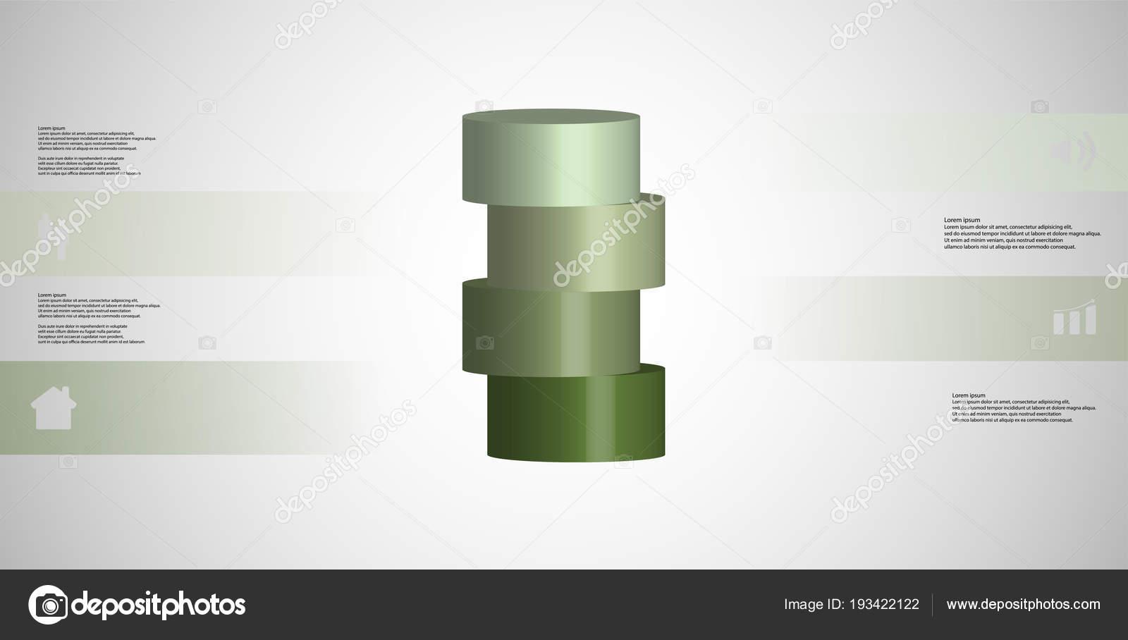 シリンダーと 3 d イラスト インフォ グラフィック テンプレートは水平
