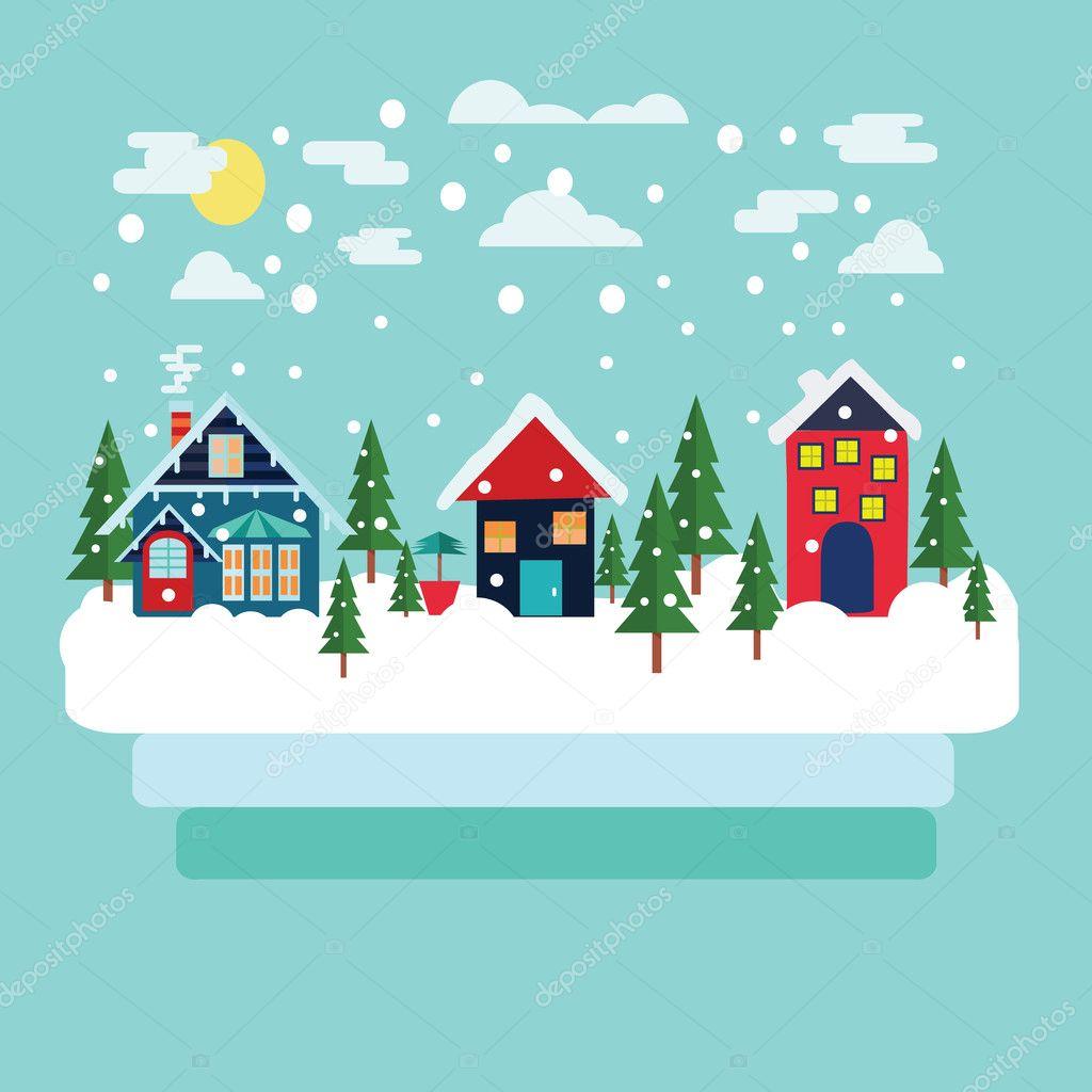 Cartolina di auguri natale paesaggio paese invernale for Paesaggio invernale disegno