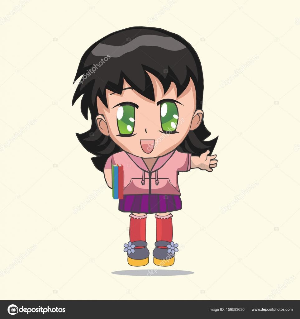 Niedlichen Anime Chibi Madchen Stockvektor