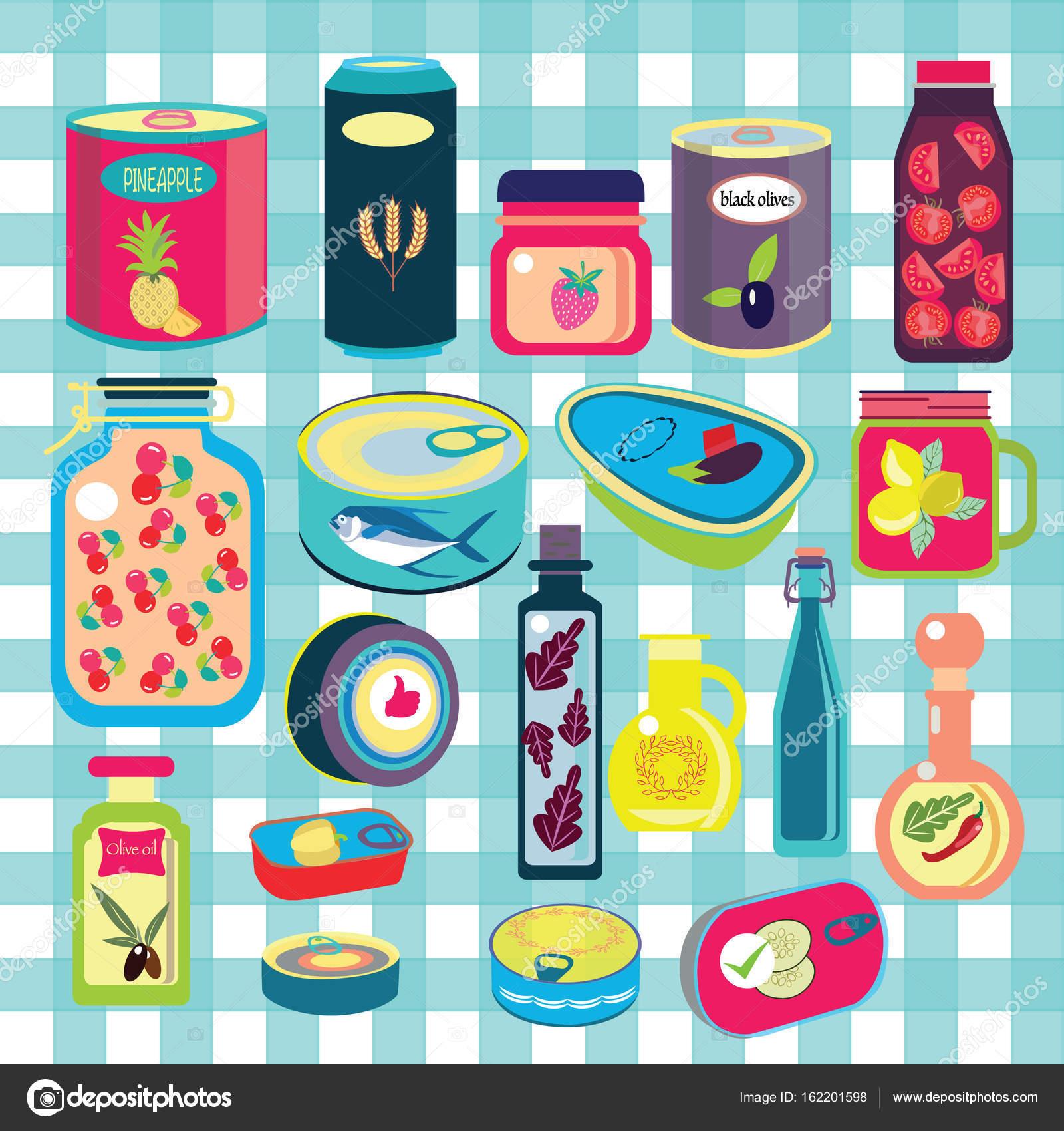 22b25eaa71 Raccolta di vari barattoli in scatola merce alimentare contenitore  metallico negozio di alimentari e conservazione del prodotto — Vettoriali  di ...
