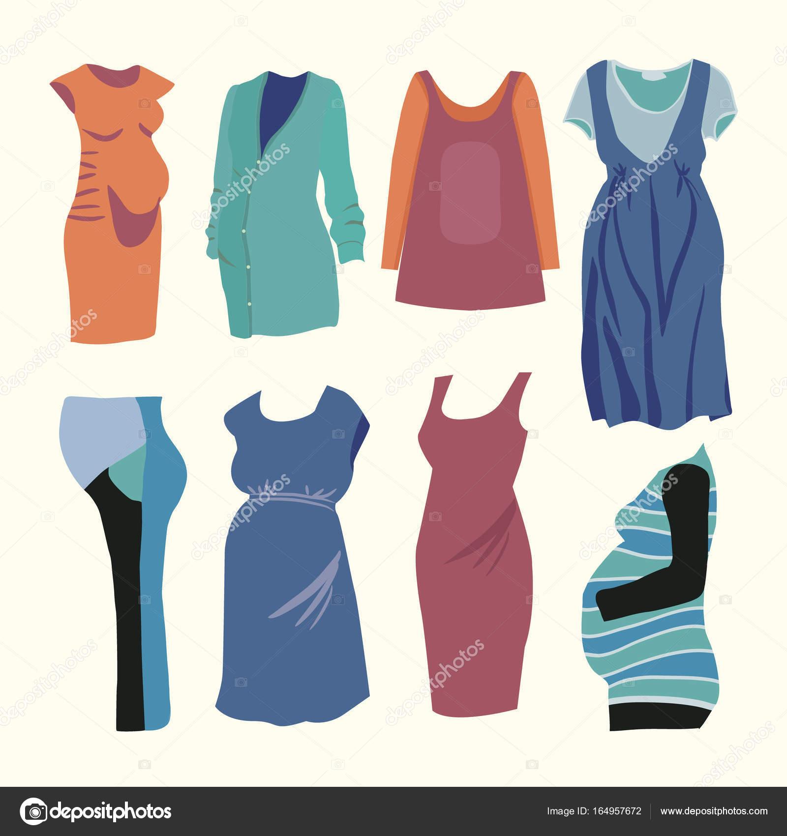 df3e01300 Conjunto de ilustración vectorial de ropa de moda para la mujer embarazada  con estilo. Boutique de moda para el look de moda de mujer embarazada —  Vector de ...