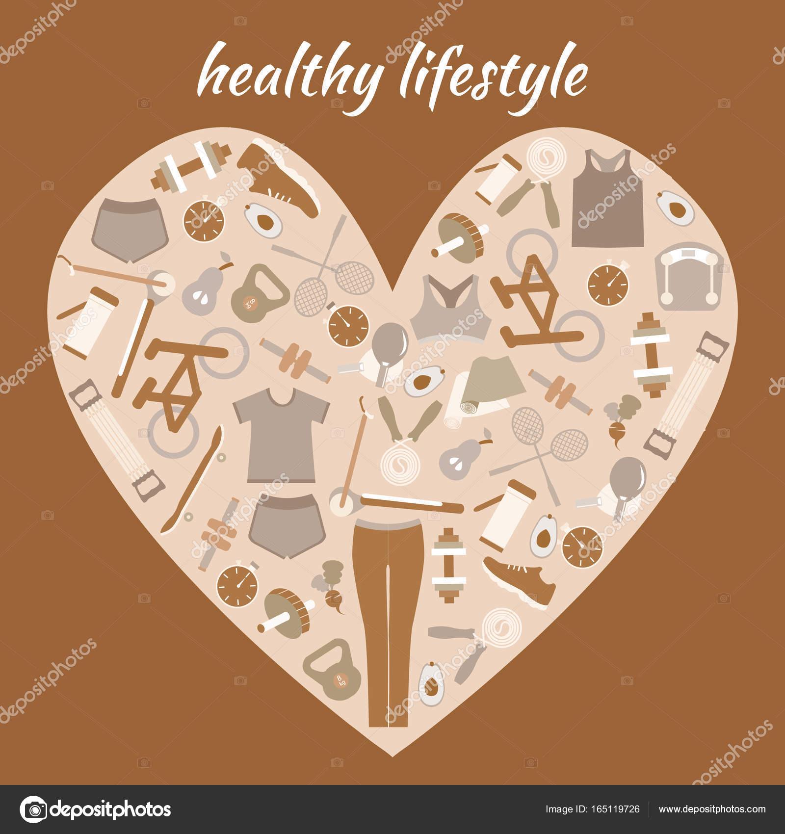 Sfondo di stile di vita sano a forma di cuore — Vettoriali Stock ... bd6f1d65330