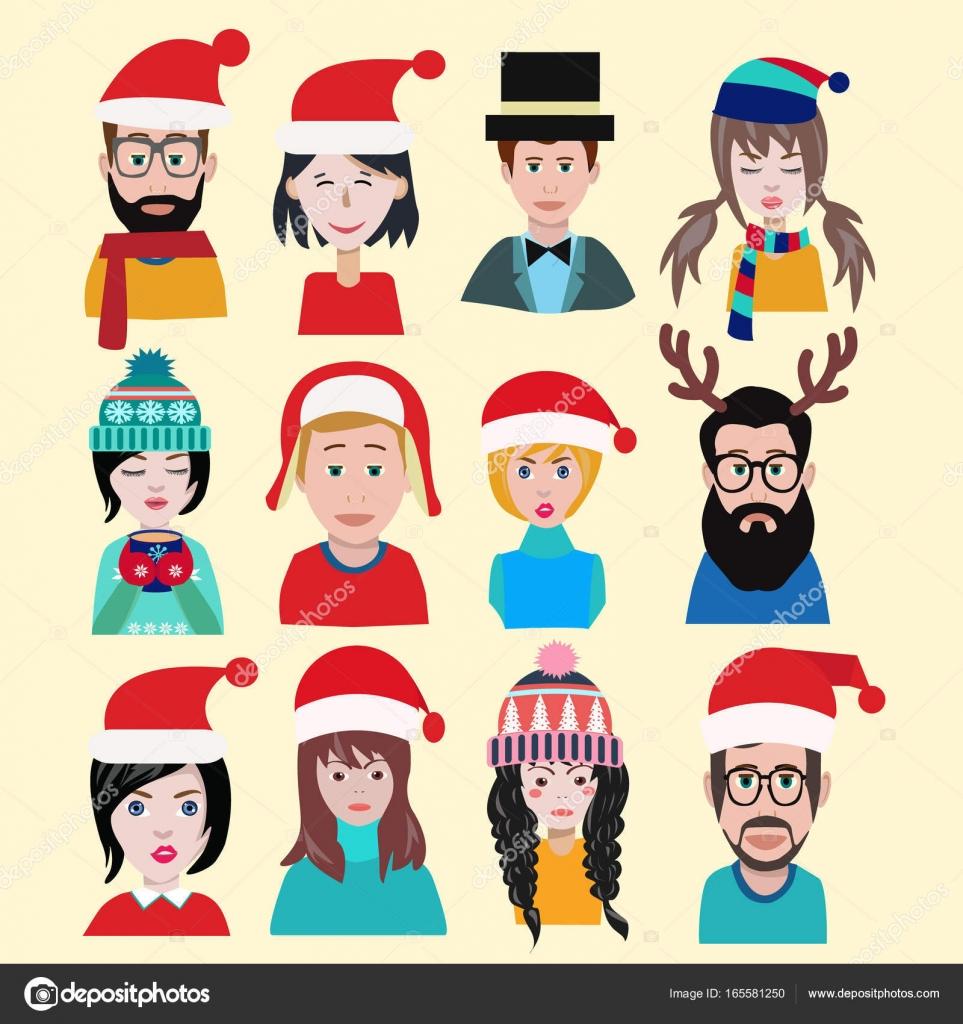 Hombres y mujeres invierno sombreros de punto calientes para los iconos de  año nuevo — Vector 5b1987fa545