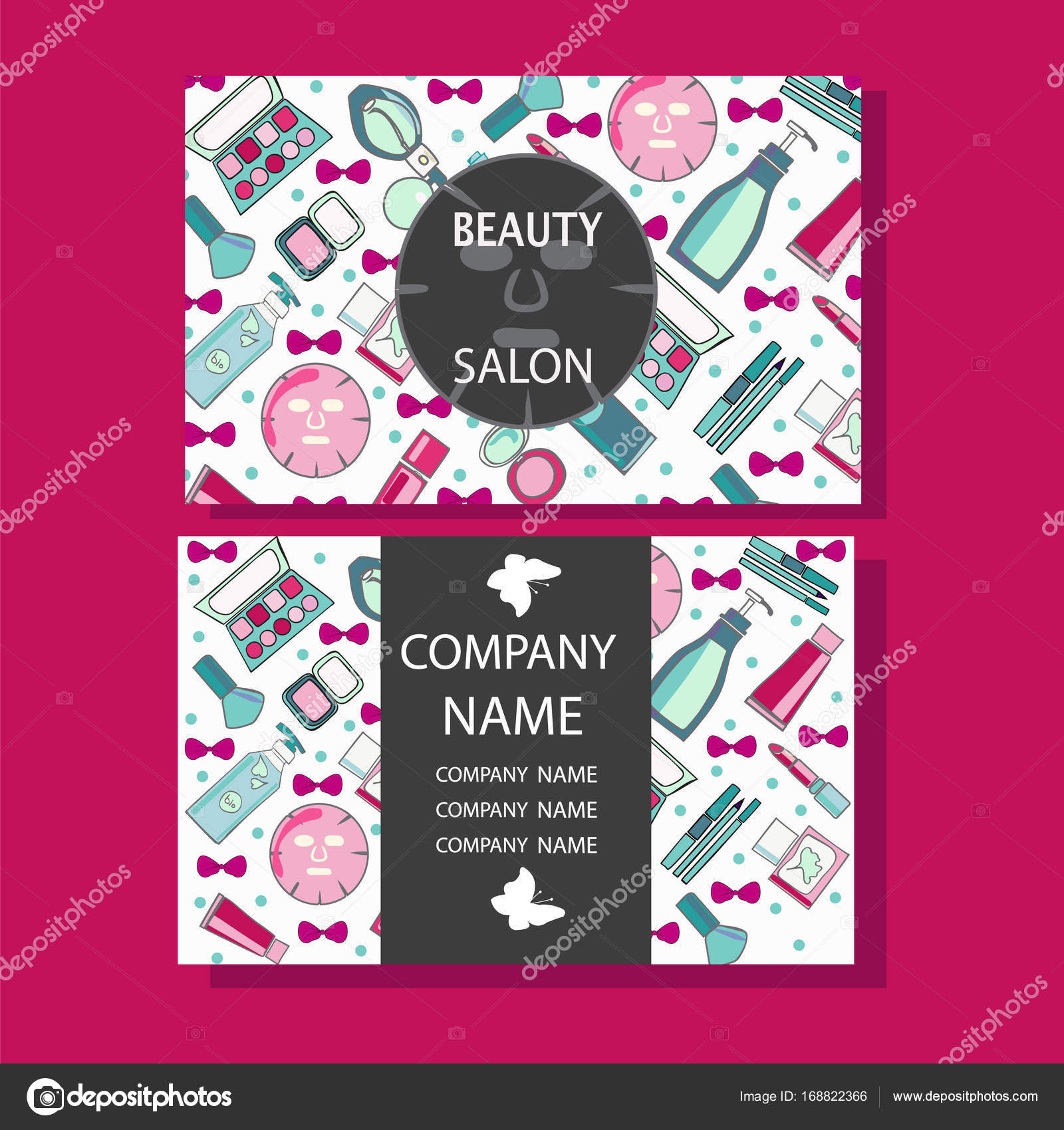 makeup care cute design of business cards for beauty salon — Stock ...